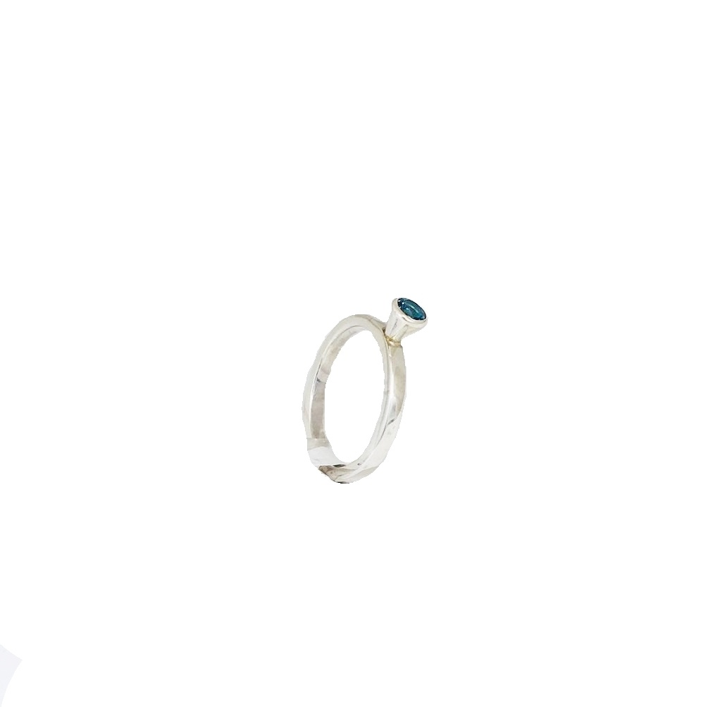 NJ Bali stack rings Swiss blue topaz - polished ring