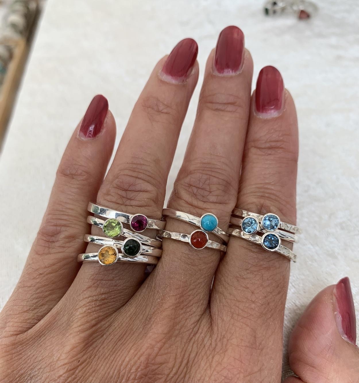 NJ Bali stack rings Rhodoliet