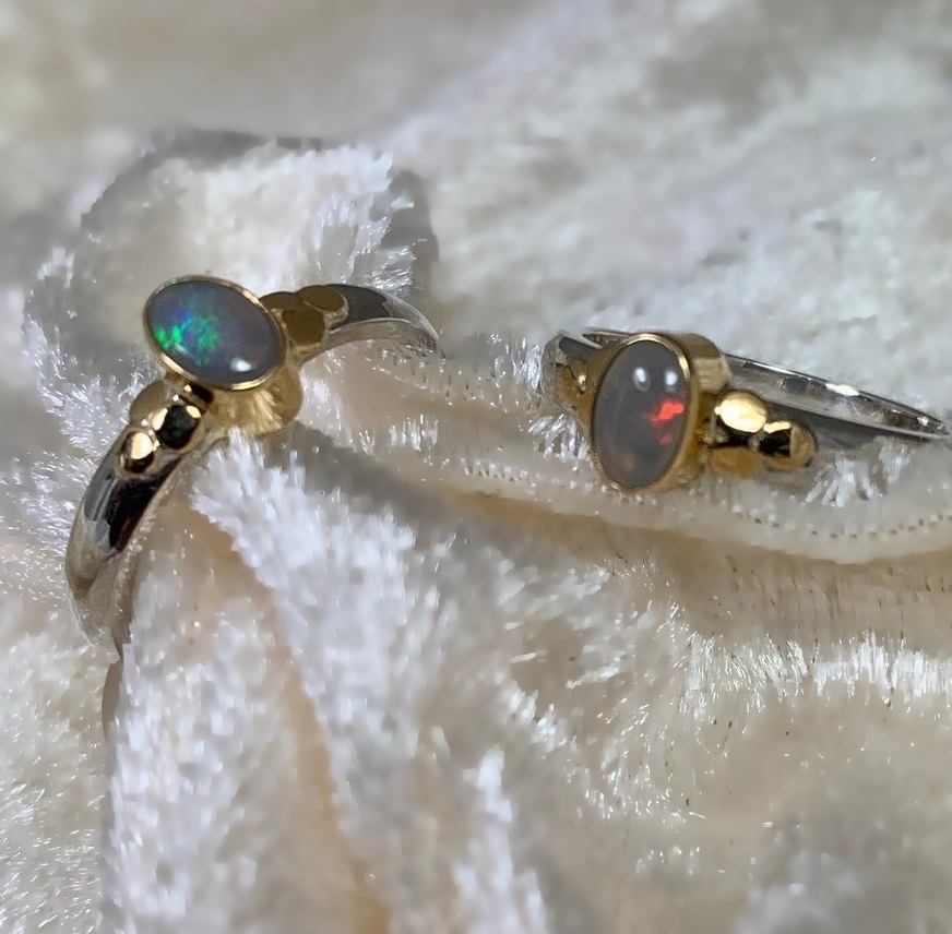 Kiliaan collectie Kiliaan ring, sterling silver and gold ring with opal