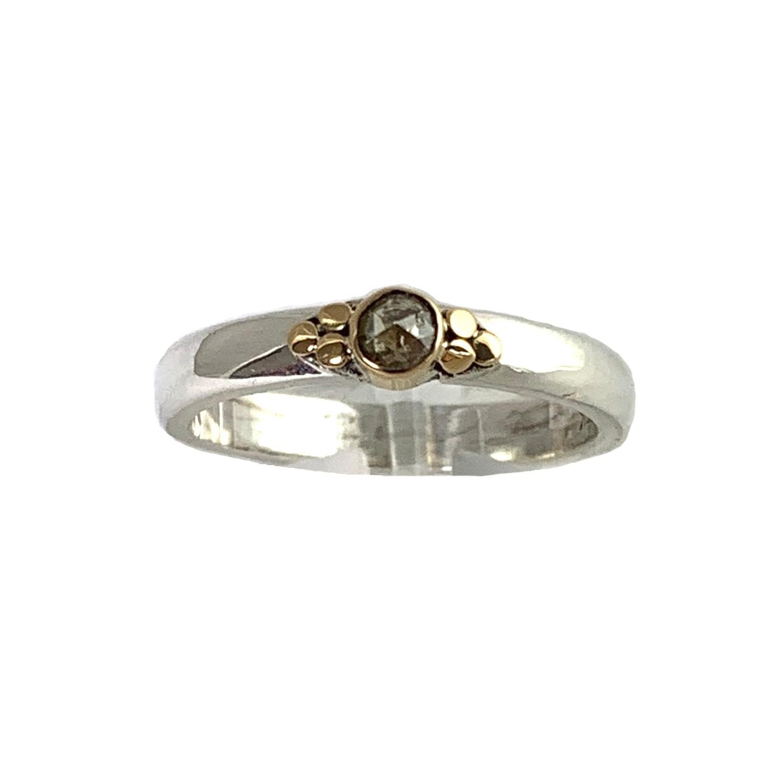 Kiliaan collectie Ring roos geslepen diamant, pepper and salt