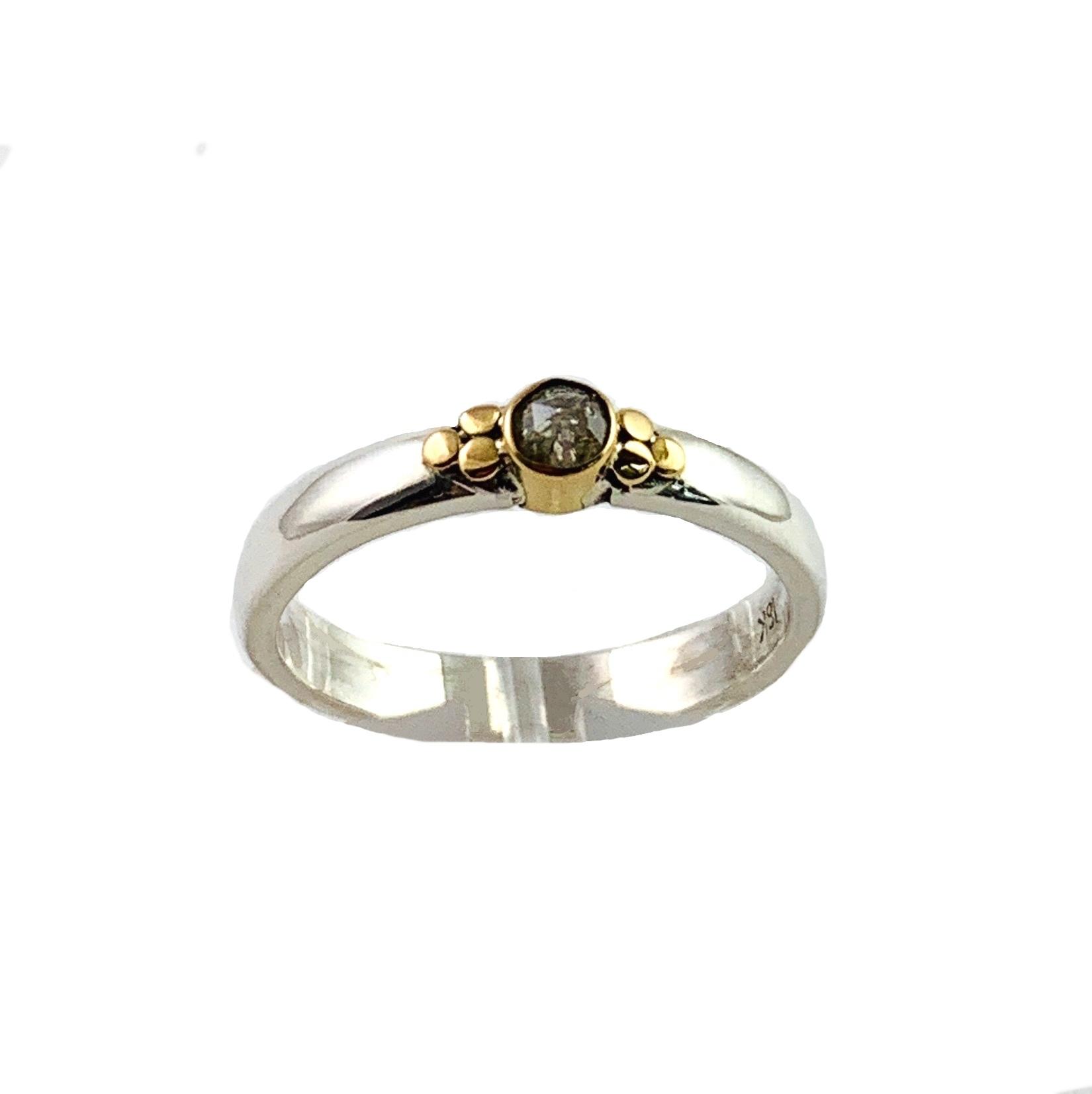 Kiliaan collectie Ring rose cut diamond, pepper and salt