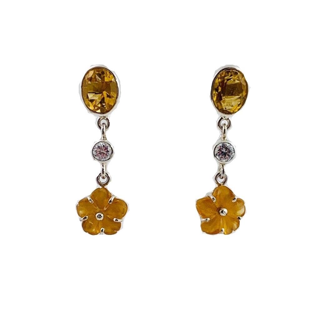Kiliaan Jewelry Collectie Oorbellen citrien en heldere saffier