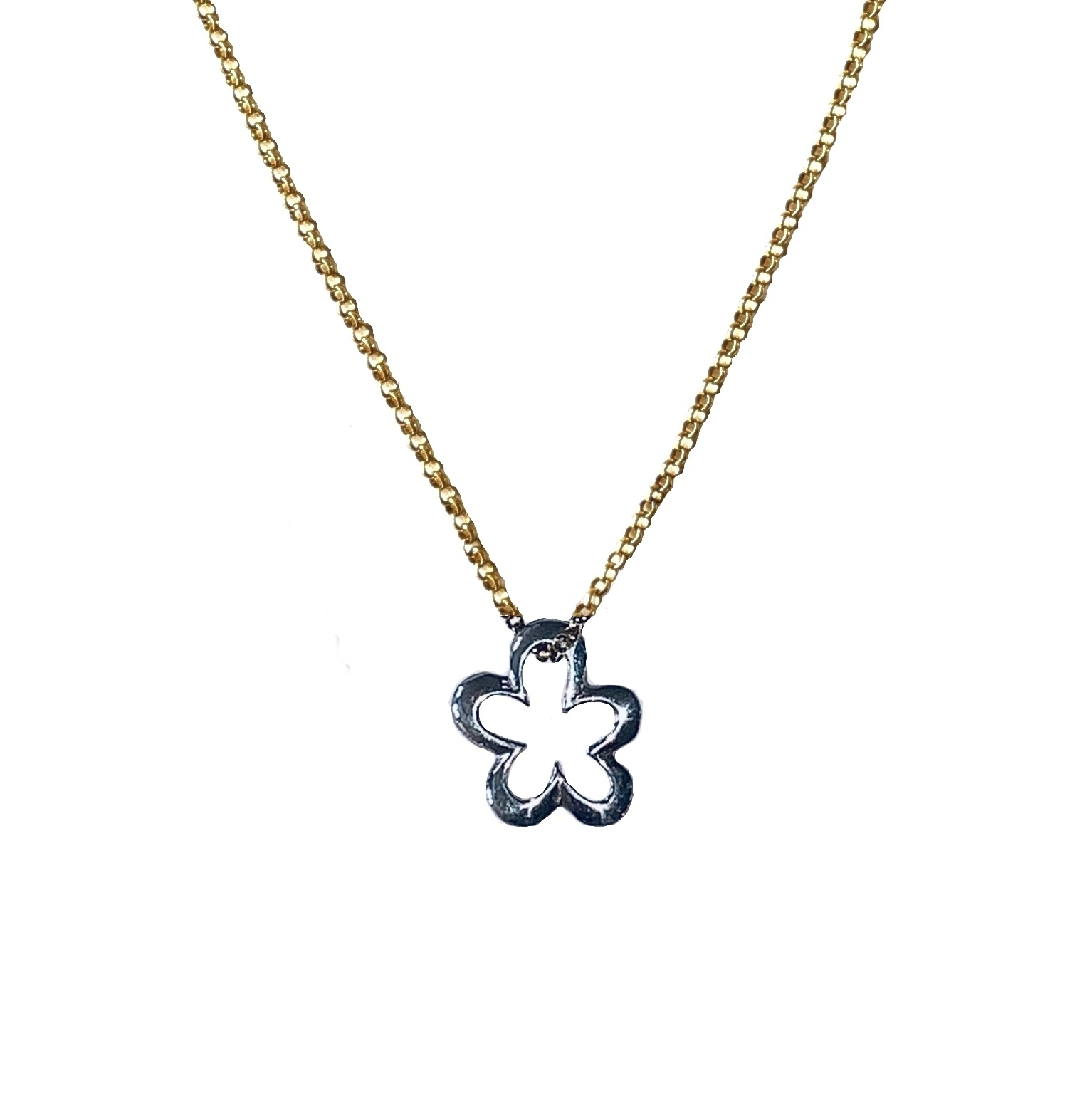 Cadeau idee Necklace Flower sterling silver and gold