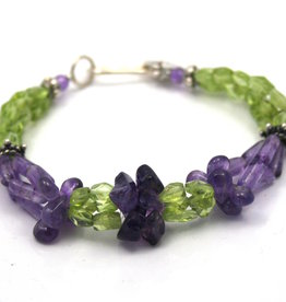 Bracelet amethyst and peridot