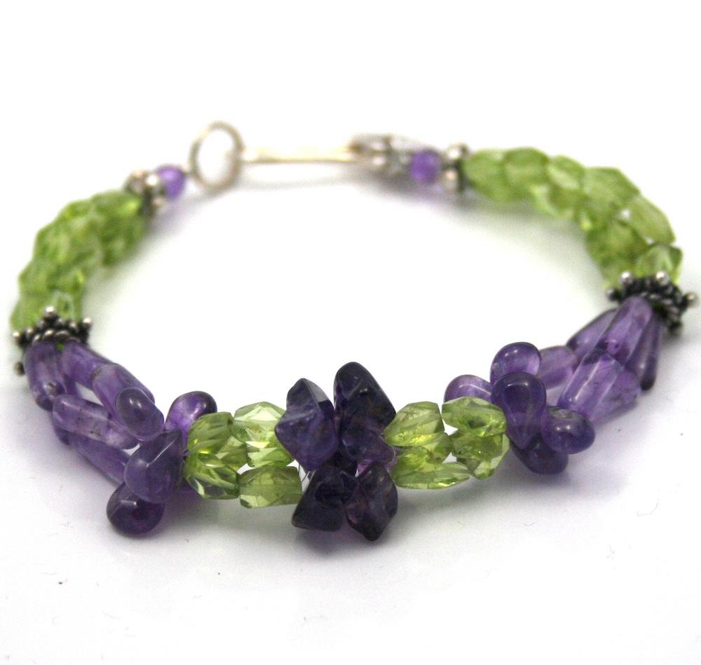 Amethyst and peridot, Purple Flower in Green