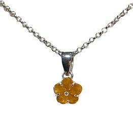 Cadeau idee Zilveren ketting met citrien hanger, bloem