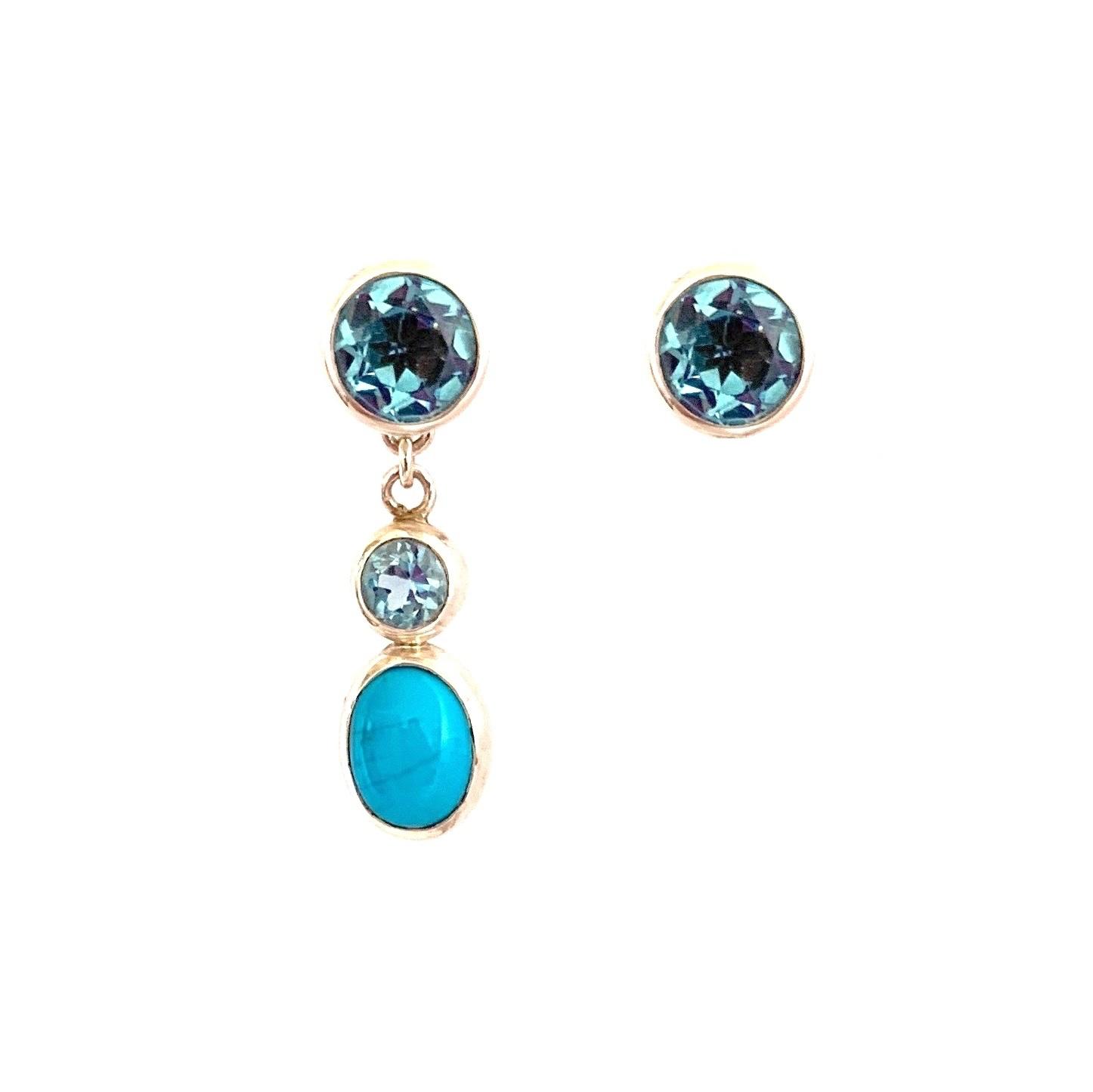 Changeable oorbellen Changeable earrings turquoise and topaz