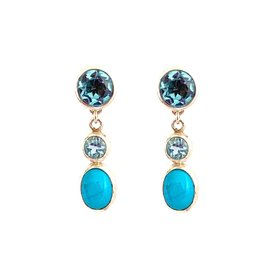 Changeable oorbellen Change earrings turquoise and topaz