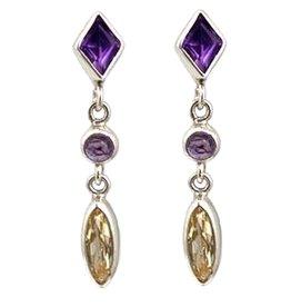 Kiliaan Jewelry Collectie Oorbellen amethist en goud topaas, zilver