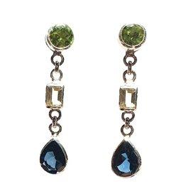 Changeable oorbellen Changeable earrings peridot,  London blue and imperial topaz