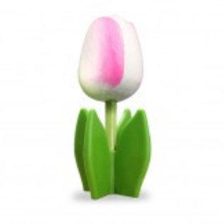 White - pink wooden tulip on leaf