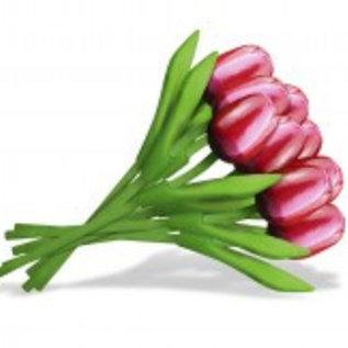 boeket houten tulpen in de kleur rood-wit 20cm