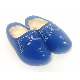 Blue children's wooden shoes with stripes