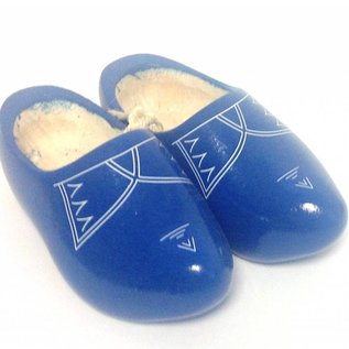 Blaue Kinder-Holzschuhe mit Zierleiste