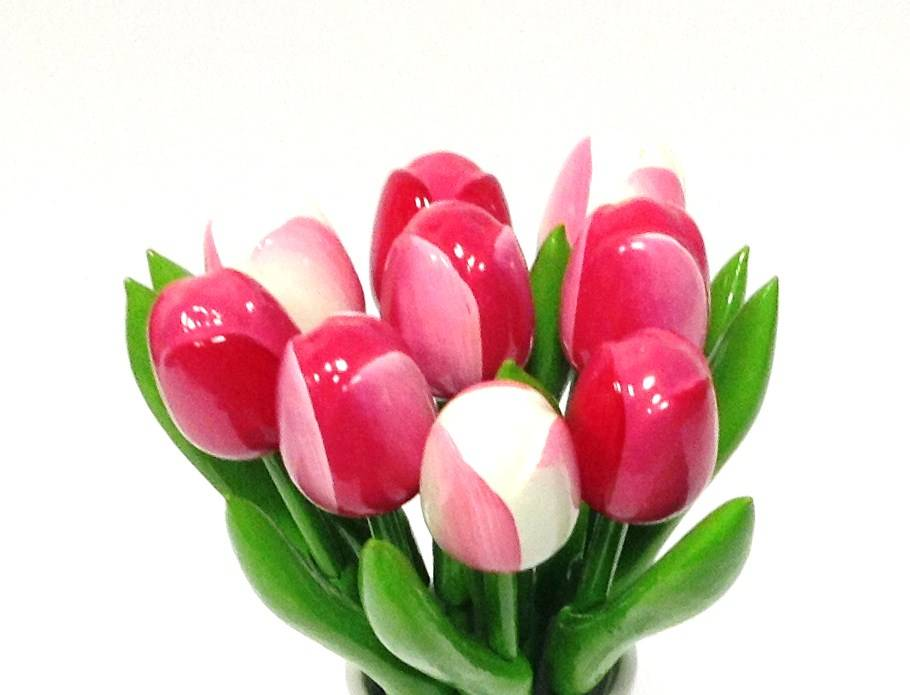 The most beautiful wooden tulips in varied versions