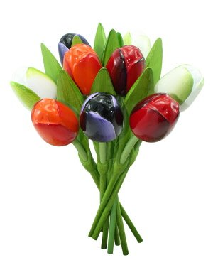 All year round beautiful wooden tulips in house