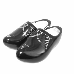 Black wooden shoes with stripes