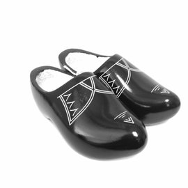 Black children's wooden shoes with stripes