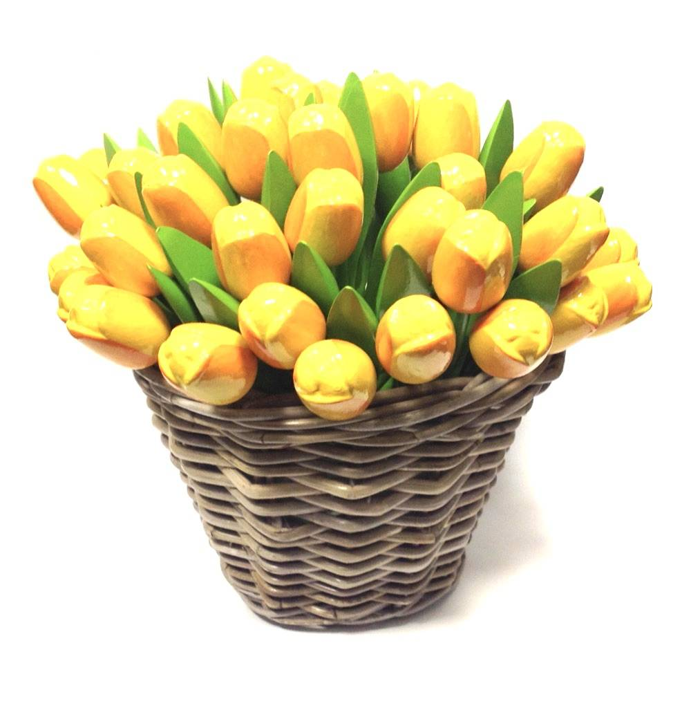 New: the wooden tulips in a wicker basket