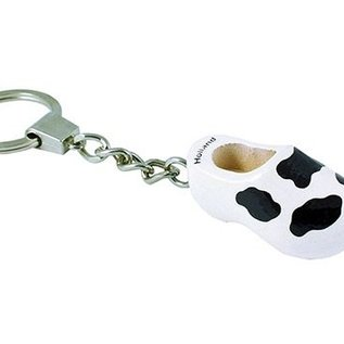 Keychain clog with a cow motif