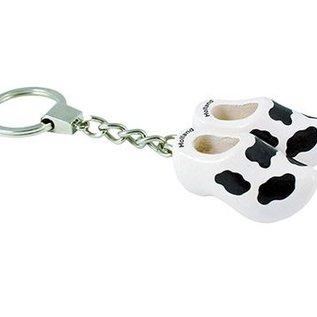 2 Holzschuhe von 4 cm mit Schlüsselanhänger Kuh