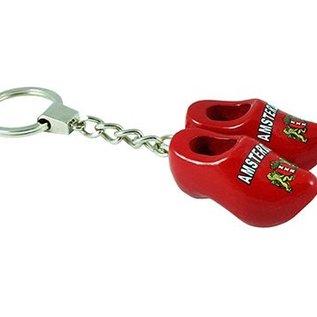 sleutelhanger 2 klompjes 4 cm rood Amsterdam