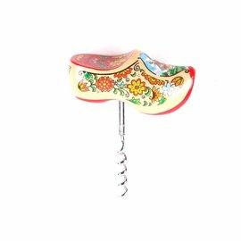 souvenir klompjes uitgevoerd als een kurkentrekker rode zool