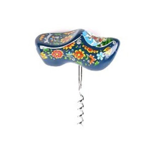 Blauwe souvenir klompjes kurkentrekker