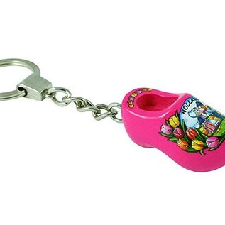 keychain with a clog of 4 cm in the color pink