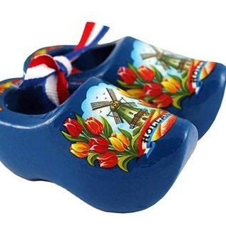 Souvenirs holzschuhe blau mit Tulpen und einer Windmühle 8cm