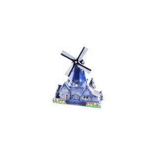 Souvenirs Stelling molen met waxinelicht delftsblauw 14 cm