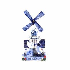 Niederländischen Delftblau Musik Windmühle mit einem küssenden Paar 16 cm