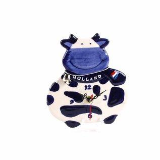 Delft blue clock cow