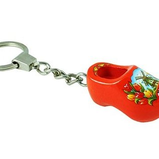 sleutelhanger met een klompje van 4 cm in de kleur oranje