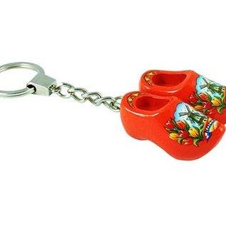 sleutelhanger met 2 klompjes van 4 cm in de kleur oranje