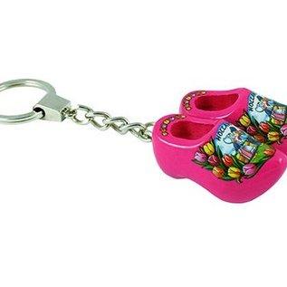 sleutelhanger met 2 klompjes van 4 cm in de kleur roze