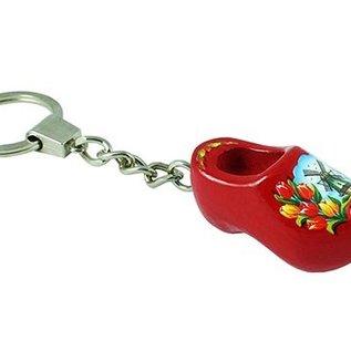 sleutelhanger met een klompje van 4 cm in de kleur rood
