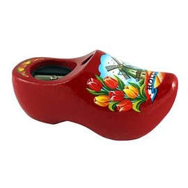 Pencil sharpener clog with a dutch windmill red