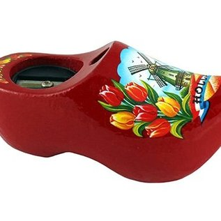 Pencil sharpener clog with a dutch windmill red (8 cm)