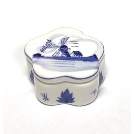 box delft blue with decor with a windmill