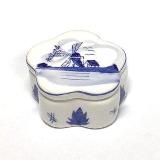 Box Delfter Blau mit Dekor mit Windmühle