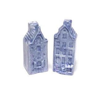 Pfeffer- und Salzsatz von Delfter Blau Häusern