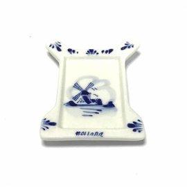 Theezakjeshouder delftsblauw molen