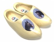 Wooden shoes with an image of an animal