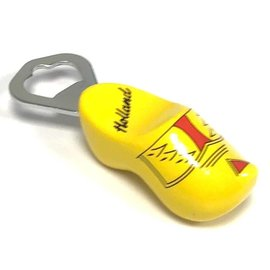 Bottle opener clog yellow with farmer motive