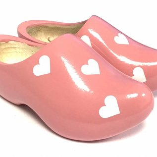 Wooden shoes with hearts in various colors
