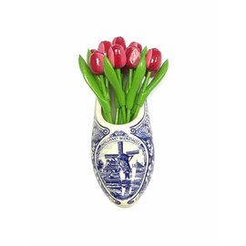 Red / white wooden tulips a Delft blue clog