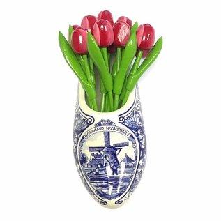 Rot / weiße Tulpen aus Holz ein Delfter blauer Clog