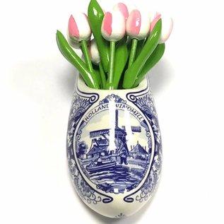 Weiß - rosa Tulpen aus Holz in einem Delfter blauen Clog