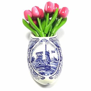 Pink / white wooden tulips in a Delft blue clog